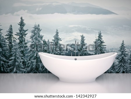 Modern interior  bathroom in house, apartment  with nature  view - stock photo