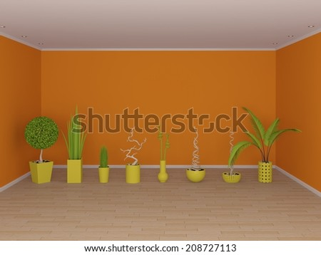 Modern interior composition with exotic decorative plants. - stock photo