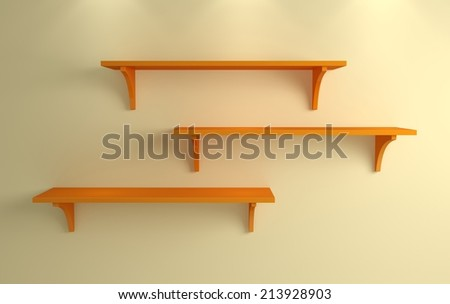 Modern interior composition with simple shelves on a wall. - stock photo