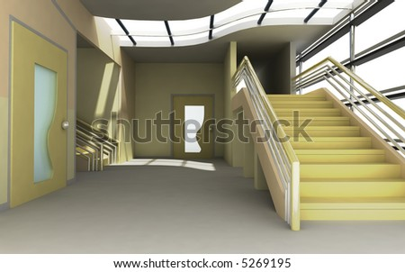 Modern Interior 3d render - stock photo