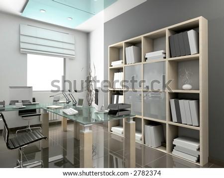 Modern interior. 3D render. Office. Exclusive design. - stock photo