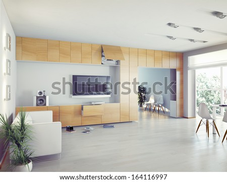 modern  interior design (computer generated image, 3D) - stock photo