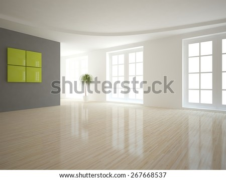 modern interior design-3D rendering - stock photo