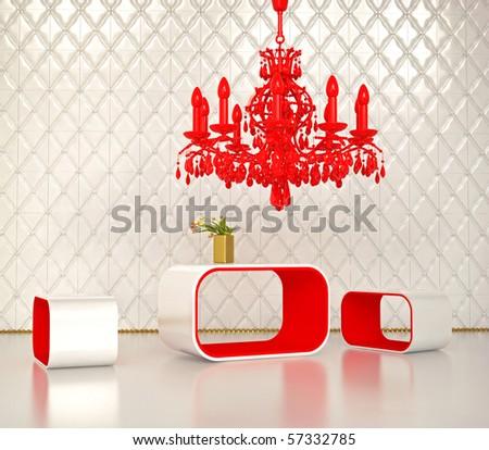 modern  interior design  3D rendering - stock photo