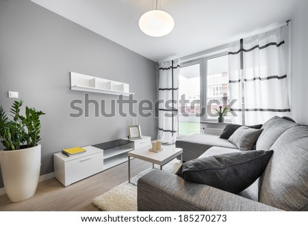 Modern interior design living room with gray walls - stock photo