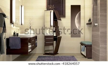 Modern interior design of bathroom 3D illustration, 3D rendering - stock photo