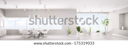 Modern interior design of white apartment panorama 3d render - stock photo
