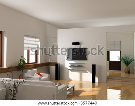 modern interior design (private apartment 3d rendering) - stock photo