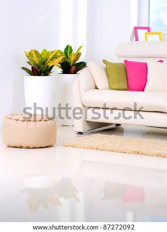 Modern Interior design.White Living Room - stock photo