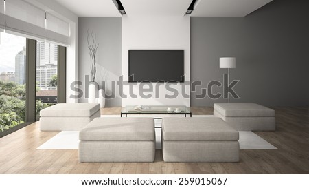 Modern interior in minimalism style 3D rendering - stock photo