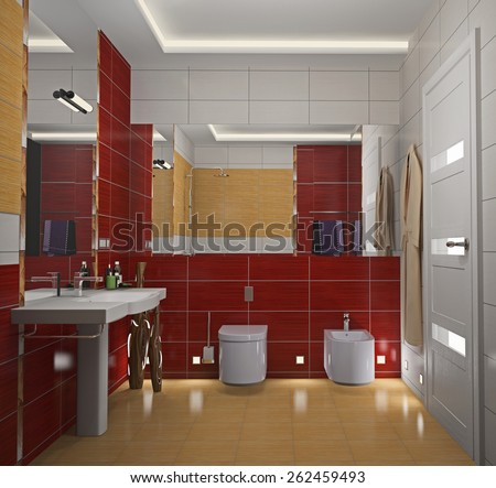 Modern interior of a bathroom 3D rendering - stock photo