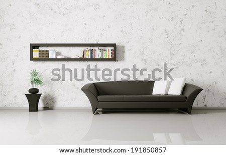 Modern interior of a room with sofa and bookshelf - stock photo