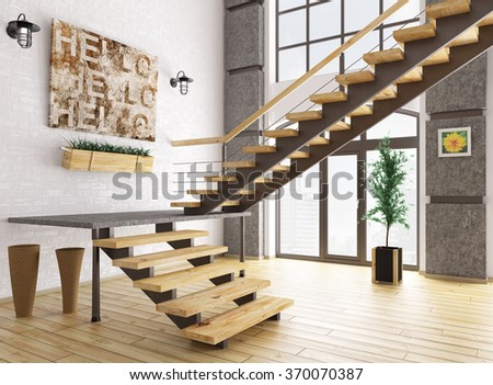 Modern interior of a room with staircase 3d rendering - stock photo