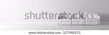 Modern interior of a room with white sofa panorama 3d render - stock photo