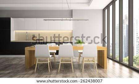 Modern interior of dining room 3D rendering - stock photo