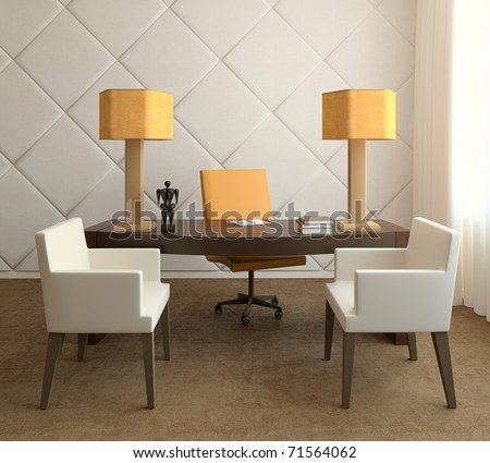 Modern interior of home office.3d render. - stock photo