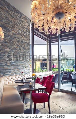 modern interior of Italian cafe  - stock photo