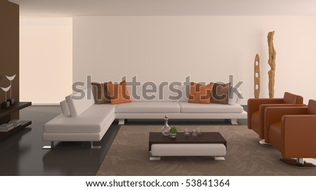 Modern interior of living-room. 3d render. - stock photo