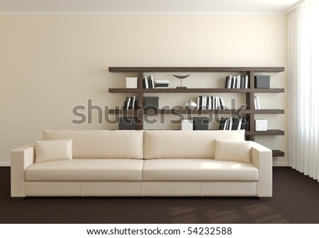 Modern interior of living-room. 3d render. - stock photo