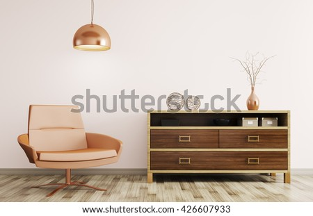 Modern interior of living room with wooden dresser, recliner chair and lamp 3d rendering - stock photo