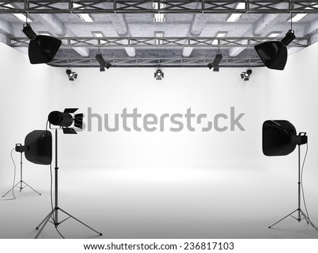 Modern Interior of Photo Studio with Light Equipment. 3D Rendering - stock photo