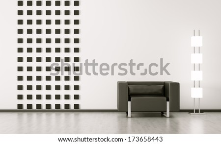 Modern interior of room with black armchair 3d render - stock photo