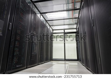 Modern interior of server room, Super Computer, Data center. - stock photo
