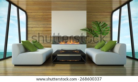 Modern interior of the beach house 3D rendering - stock photo