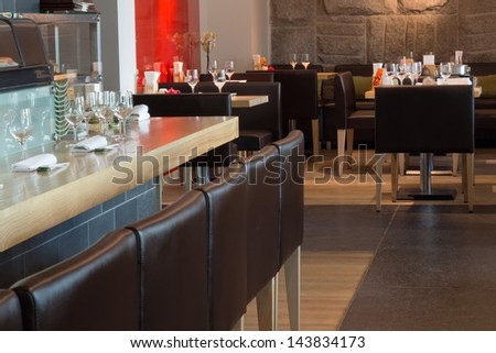 Modern interior of the cozy cafe. - stock photo