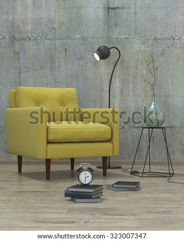 modern interior room with books and yellow sofa, 3D render - stock photo