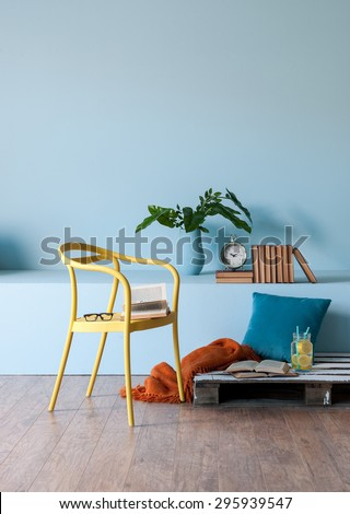 modern interior style with blue wall - stock photo