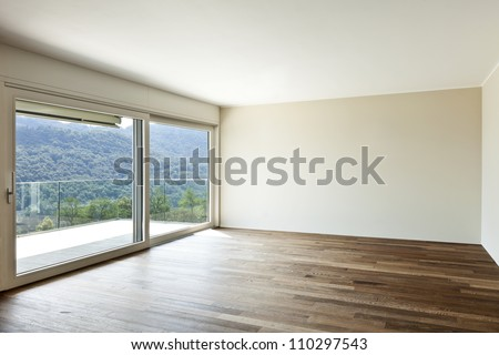 modern interior, wide empty apartment with windows - stock photo