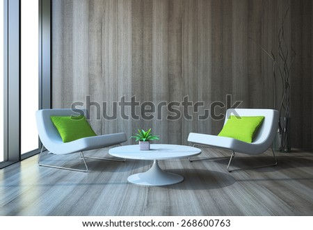 Modern interior with armchairs and coffee table 3D rendering - stock photo