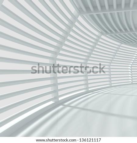 Modern Interior With Big Windows - 3d illustration - stock photo