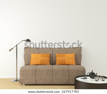 Modern interior with brown couch near empty white wall. 3d render. Photo on book cover was made by me. - stock photo