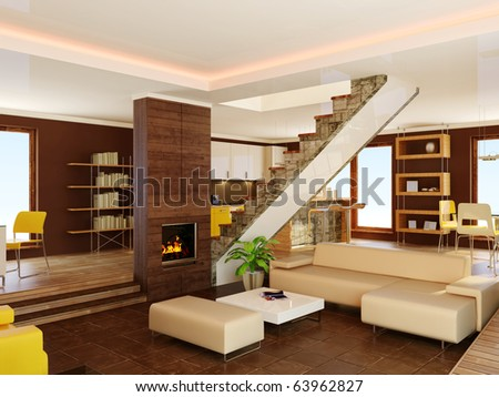 modern interior with  brown walls - stock photo