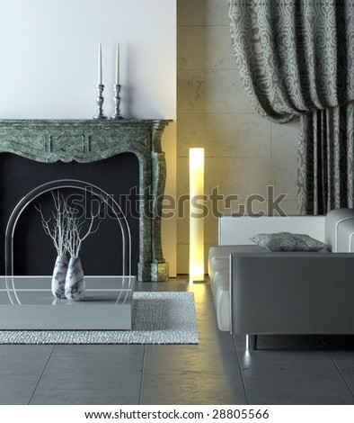 Modern interior with classical marble fireplace (3D render) - stock photo