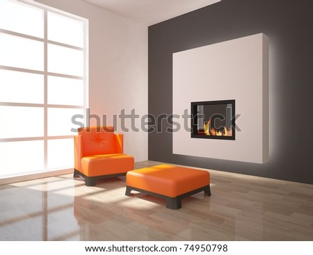 modern interior with fire - stock photo