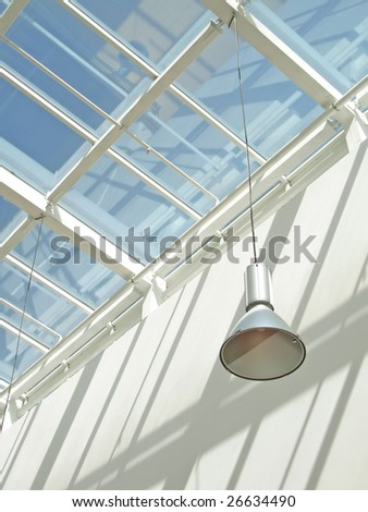 Modern interior with glass roof. To see similar images, please VISIT MY GALLERY. - stock photo