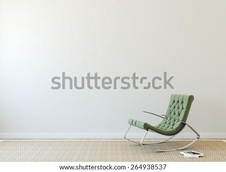 Modern interior with green armchair near beige wall.  - stock photo