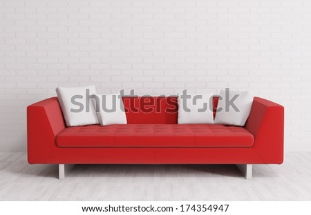 Modern interior with red sofa over the brick wall 3d render - stock photo