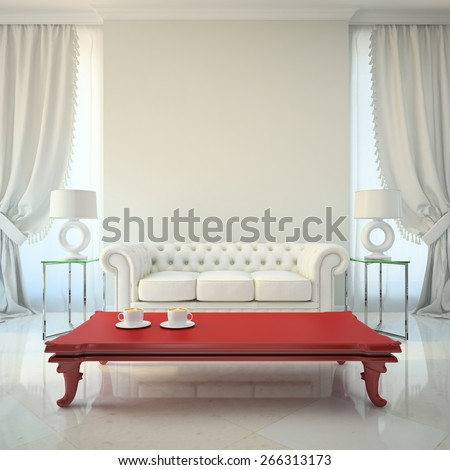 Modern interior with red table 3D rendering - stock photo