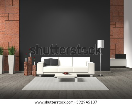 modern interior with sofa, corten steel and copy space  - stock photo