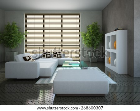 Modern interior with two plants 3D - stock photo