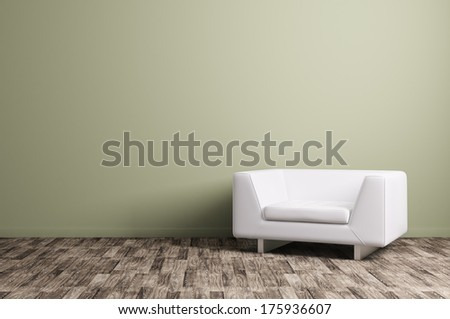Modern interior with white armchair - stock photo