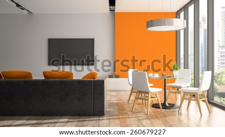 Modern interior with white chairs and orange wall 3D rendering  - stock photo