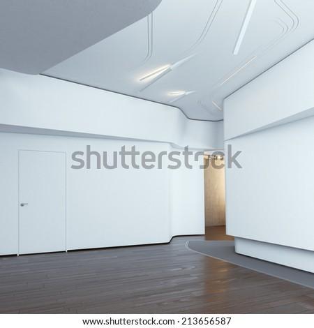 Modern interior with white walls - stock photo