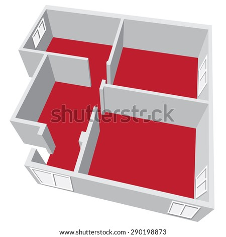 Modern isometric cottage interior. Isometric open plan house.part of architectural project Ground Floor Plan Floorplan House Home Building Architecture Blueprint Layout Detailed plan. Raster - stock photo