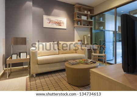 modern japanese style decorated living-room and kitchen room. - stock photo