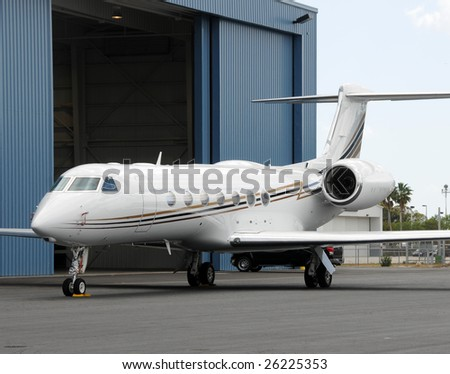 Modern jet airplane used for corporate business charters - stock photo